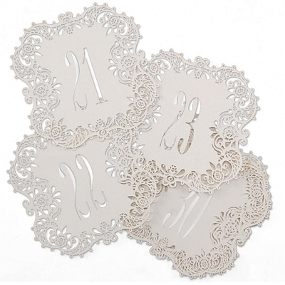 Hortense B. Hewitt Shimmer Laser Cut Table Number Cards; 21 - 30