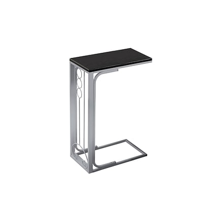 Monarch Specialties Inc. I 3137 16 Accent Table, Black Top/Silver