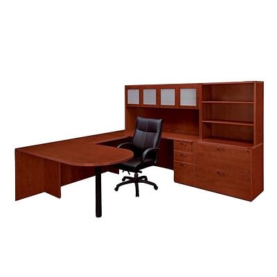 DMI® Fairplex Collection in Cognac Cherry, Laminate Deluxe Right Executive Peninsula U Workstation
