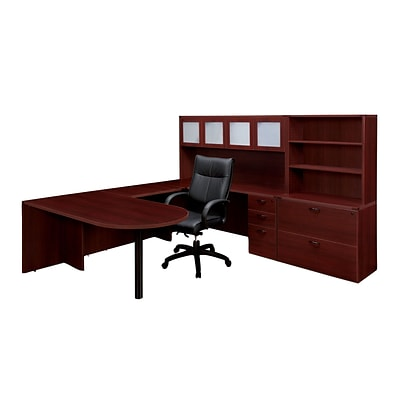 DMI® Fairplex Collection in Mahogany, 65 Laminate Deluxe Right Executive Peninsula U-station