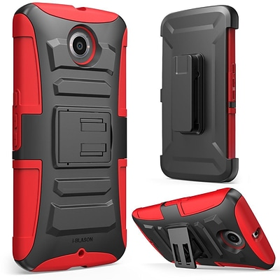 i-Blason Prime Dual Layer Holster Case For Google Nexus 6, Red/Black