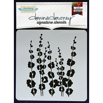 Donna Downey Stencils 8 1/2 x 8 1/2 Signature Stencil, Poppy Stems
