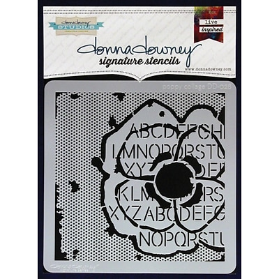 Donna Downey Stencils 8 1/2 x 8 1/2 Signature Stencil, Poppy Collage