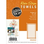 Aunt Marthas Stitch Em Up Vintage Box Stripe Dish Towels, 28 x 18, Orange On Natural, 3/Pack