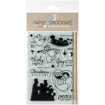 Paper Smooches 4 x 6 Clear Stamps, A Blessed Christmas, 17/Pack