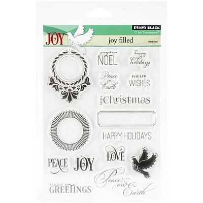Penny Black® 5 x 7 1/2 Sheet Clear Stamp Set; Jolly Filled
