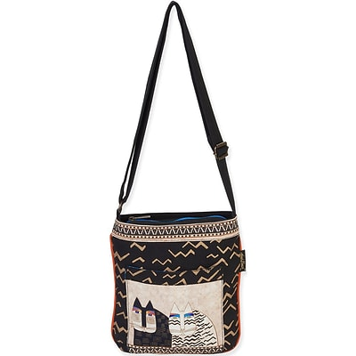 Laurel Burch® 10 1/2 x 11 Crossbody Tote Bag, Black Wild Cats