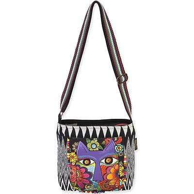 Laurel Burch® 13 1/2 x 4 x 10 Crossbody Bag, Blossoming Feline