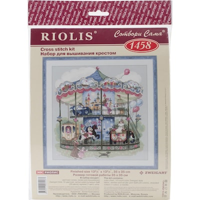 """Riolis(r) 14 Count Counted Cross Stitch Kit, 13 3/4"""" X 13 3/4"""", Carousel"""