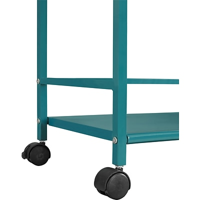 Altra Furniture Marshall 7741396PCOM 3-Shelf Metal Rolling Utility Cart, Teal