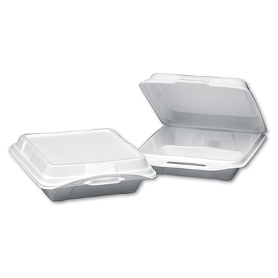 Genpak® 20310 Foam Hinged Dinner Container, White, 200/PK