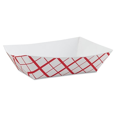 Southern Champion® Paper Food Baskets, 3lb, Red/White, 500/Carton