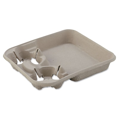 Chinet® StrongHolder Molded Fiber Cup Tray, 8-22oz, Two Cups, 400/Carton