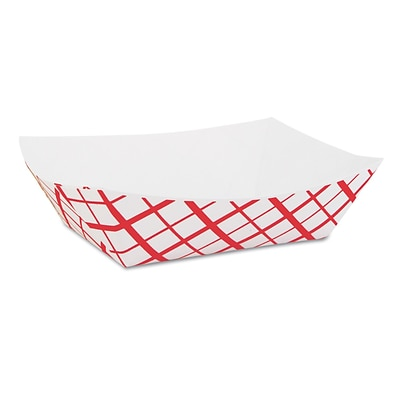 Southern Champion® Paper Food Baskets, 1lb, Red/White, 1000/Carton