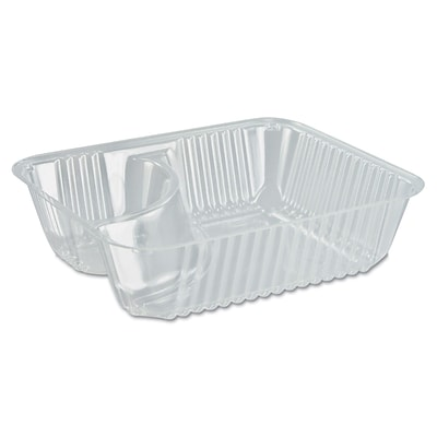 Dart® ClearPac Small Nacho Tray, 2-Compartments, Clear, 500/Carton