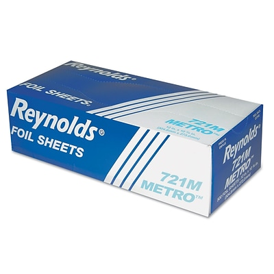 Reynolds 721M Metro Pop-Up Aluminum Foil Sheets, 12x10.75, 6 BX/500 Sheets, 3,000 Sheets/CS.