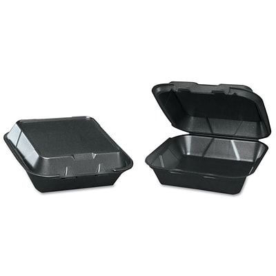 GENPAK Medium Black Snap It Foam Container