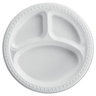 HUHTAMAKI FOODSERVICE 3 Compartments Heavyweight Plates; White