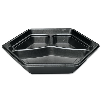GENPAK Laminated 3 Compartment Hexagon Serving Tray