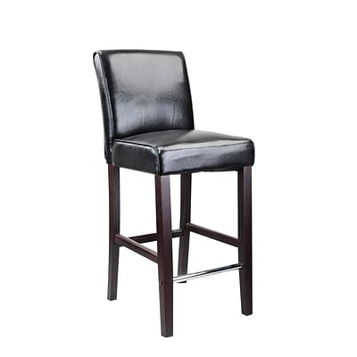 CorLiving™ Antonio Bonded Leather Bar Height Barstool, Black