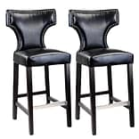 CorLiving™ Kings Bonded Leather Bar Height Barstool With Metal Studs, Black, 2/Pack