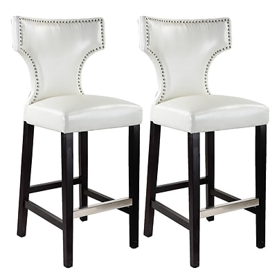 CorLiving™ Kings Bonded Leather Bar Height Barstool With Metal Studs, White, 2/Pack