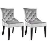 CorLiving™ Antonio Velvet Fabric Accent Chair With Diamond Tufted Back, Soft Gray, 2/Pack