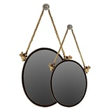 Urban Trends Metal Mirror Oval w/ Knotted Rope Hanger Set of Two Black