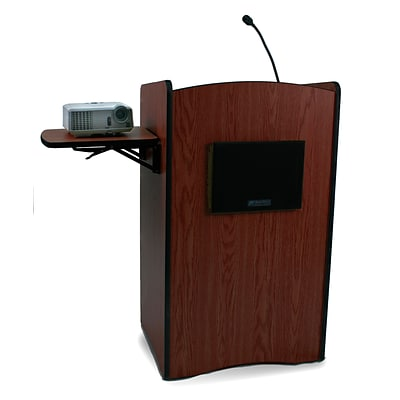 AmpliVox® Multimedia Computer Lectern with Sound System, Mahogany