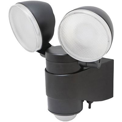 Maxsa® Battery Powered Motion Activated Dual Head LED Security Spotlight; Black