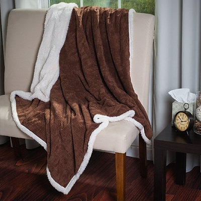 Lavish Home 61-00011-BR Plush Throw, Brown