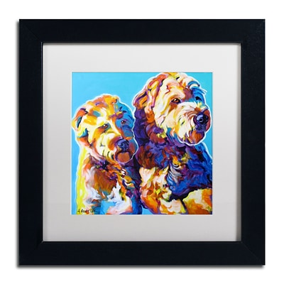 Trademark Fine Art ALI0550-B1111MF Max and Maggie by DawgArt 11 x 11 Framed Art, White Matted