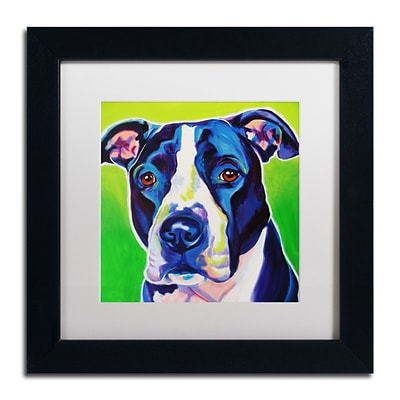 Trademark Fine Art ALI0552-B1111MF Sadie by DawgArt 11 x 11 Framed Art, White Matted
