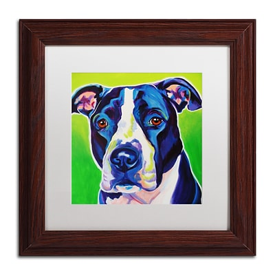 Trademark Fine Art ALI0552-W1111MF Sadie by DawgArt 11 x 11 Framed Art, White Matted