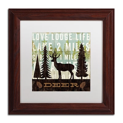 Trademark Fine Art WAP0122-W1111MF Simple Living Deer by Michael Mullan 11 x 11 FRM Art, WHT MTD