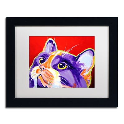 Trademark Fine Art ALI0559-B1114MF Cat Issa by DawgArt 11 x 14 Framed Art, White Matted