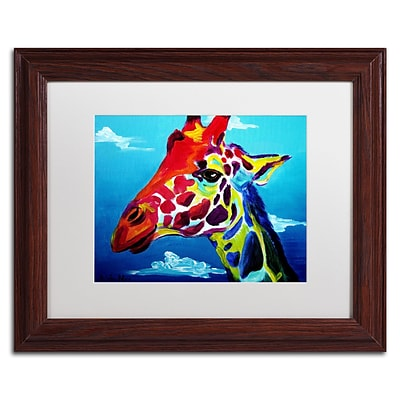 Trademark Fine Art ALI0566-W1114MF Giraffe by DawgArt 11 x 14 Framed Art, White Matted