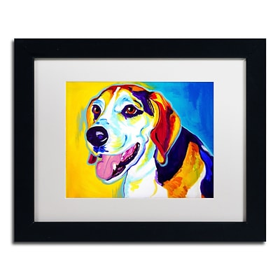 Trademark Fine Art ALI0571-B1114MF Lou by DawgArt 11 x 14 Framed Art, White Matted