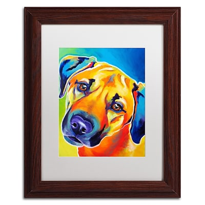 Trademark Fine Art ALI0574-W1114MF Lulu by DawgArt 14 x 11 Framed Art, White Matted