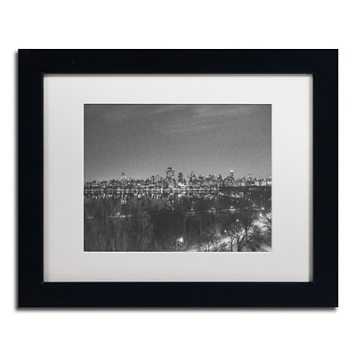 Trademark Fine Art AM0218-B1114MF City From A Far II by Ariane Moshayedi 11x14 FRM Art, WHT MTD