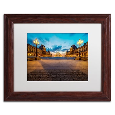 Trademark Fine Art RV0017-W1114MF Blue Hour from the Louvre by Mathieu Rivrin 11x14 FRM Art, WHT MTD