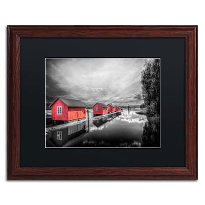 Trademark Fine Art EB0053-W1620BMF Timber Booms by Erik Brede 16 x 20 Framed Art, Black Matted