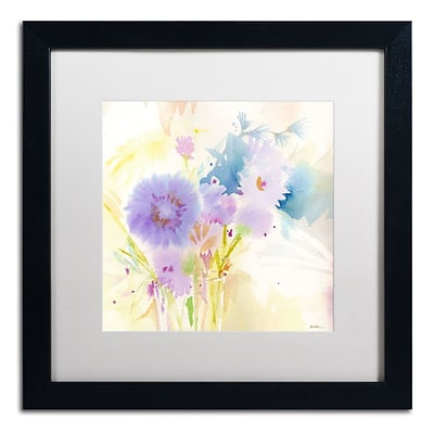 Trademark Fine Art SG5708-B1616MF Mixed Blue Bouquet by Sheila Golden 16 x 16 FRM Art, WHT MTD