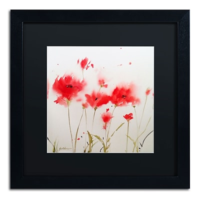 Trademark Fine Art SG5707-B1616BMF A Poppy Moment by Sheila Golden 16 x 16 Framed Art, BLK MTD
