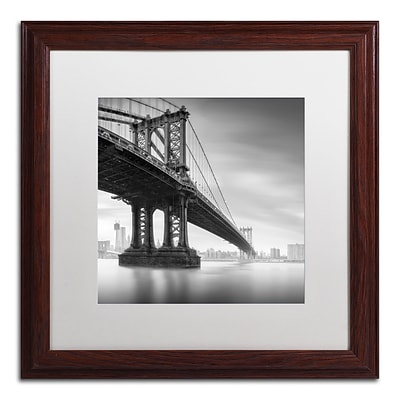 Trademark Fine Art ALI0061-W1616MF Manhattan Bridge I by Moises Levy 16 x 16 Framed Art, WHT MTD