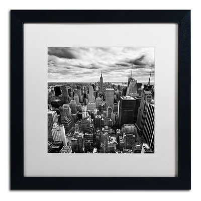 Trademark Fine Art NP0012-B1616MF Rockefellar View by Nina Papiorek 16 x 16 Framed Art, WHT MTD