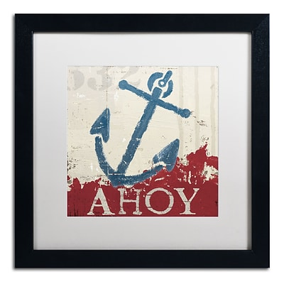 Trademark Fine Art WAP0139-B1616MF Nautical IV Red by Wellington Studio 16 x 16 FRM Art, WHT MTD