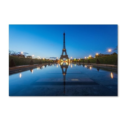Trademark Fine Art Blue Hour in Front of the Eiffel Tower by Mathieu Rivrin 16x24 FRMLS Art