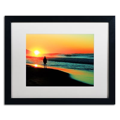 Trademark Fine Art BC0148-B1620MF Sunrise Walking by Beata Czyzowska Young 16x20 FRM Art, WHT MTD