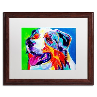 Trademark Fine Art ALI0555-W1620MF Aussie by DawgArt 16 x 20 Framed Art, White Matted